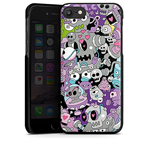 Apple iPhone X Silikon Hülle Case Schutzhülle Bunt Monster Grafik Hard Case schwarz