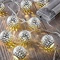 Auraglow Batteriebetriebene Lichterkette mit 12 LEDs mit warmweißem Schein für den Innenbereich, 2,5 m - Winzig Bälle