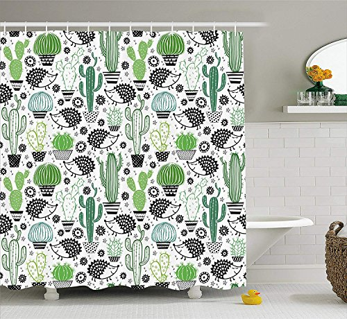 TAMMY CHAPPELL Cactus Decor Shower Curtain Cartoon Inspired Drawing Of Cute Hedgehog Animals Saguaro And