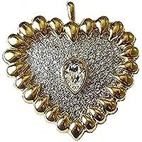 Oro finitura argento antico vintage cuore di strass cristallo Spilla Fancy Dress partito gioielli per le donne