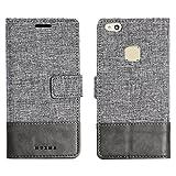 muxma Huawei P10 Lite Textilgewebe Kunstleder Tasche Schutzhülle Handyhülle Visitenkartenfach und Standfunktion (Grau)
