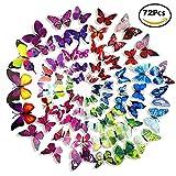 Moovlife 72 Pezzi Farfalle 3D Adesivi, Disegno di Plastica con Magneti Decorazione Casa Stickers Murali