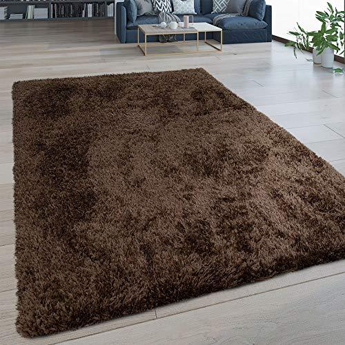 Paco Home Hochflor Wohnzimmer Teppich Waschbar Shaggy Flokati Optik Einfarbig In Braun, Grösse:130x200 cm -