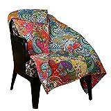 RAJRANG Multicolor Patchwork Quilt Vintage indische überwürfe Kuscheldecken Reversible Gesteppte Decke und warm Atmungsaktive Steppdecke Wohnzimmer für Sofa überwürfen und Couch 130 cm x 170 cm