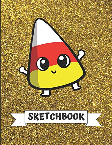 Sketchbook: Cute Halloween Candy Corn With Gold Glitter Effect Background, Large Blank Sketch Book For Girls and Boys of All Ages. Perfect For ... & Crayon Coloring (Kids Drawing Books)