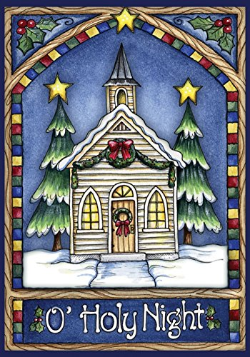 DIYCCY Weihnachten Kirche 31,8 x 45,7 cm Dekorativer Glasmalerei-Holy Night Winter Snow Garten Flagge (Glasmalerei Winter)