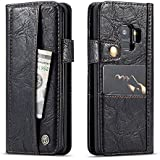 Samsung Galaxy S9 Case, Premium PU Leather Wallet Pouch Flip Cover Case Anti-Scratch Defender Cover Leather Case For Samsung Galaxy S9 (Black)
