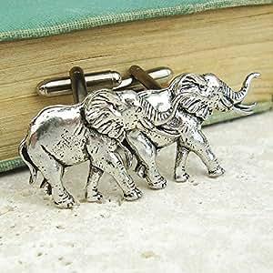 Boutons de Manchette éléphant avec Boîte à Cadeau