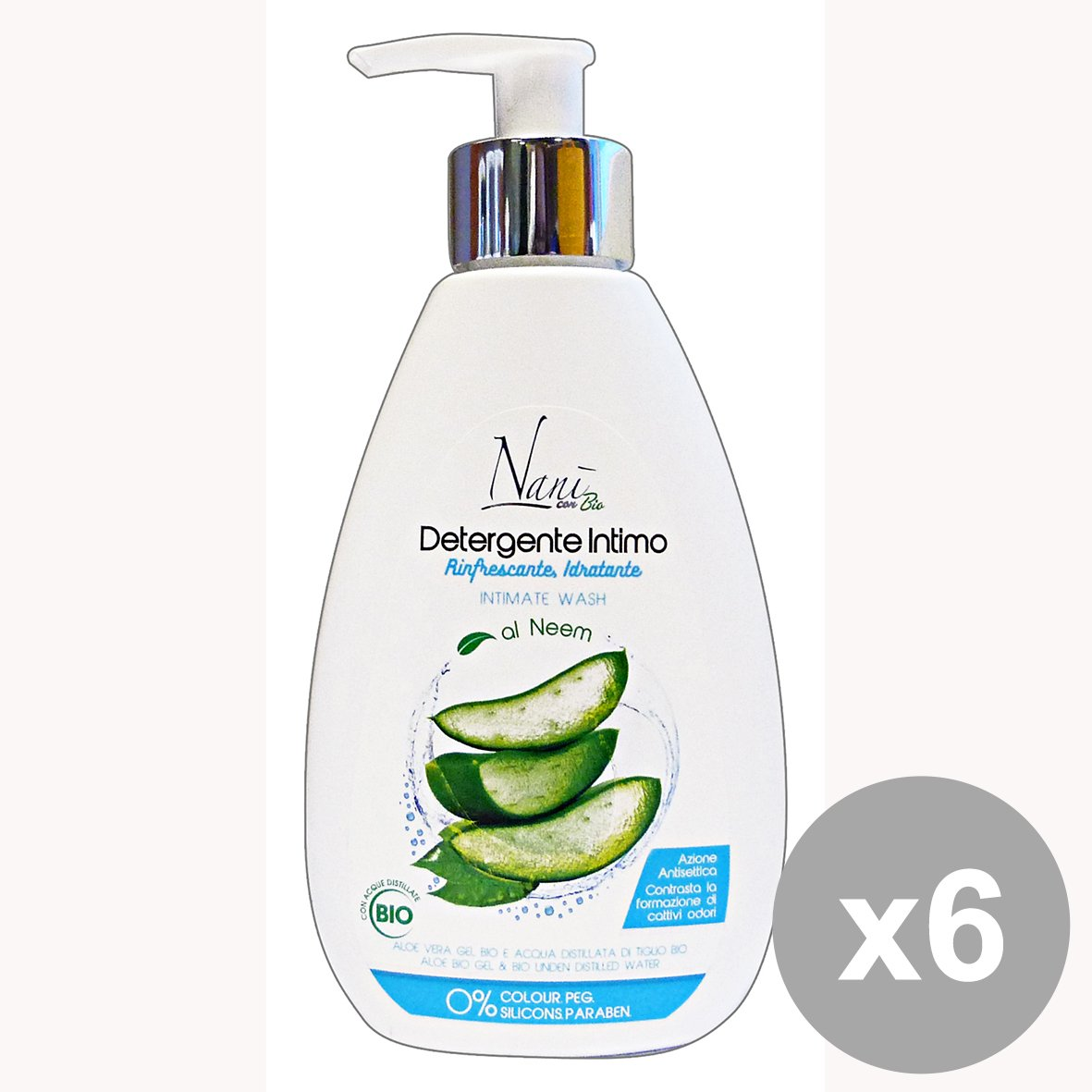 Set 6 NANI Bio Sapone INTIMO Idratante ALOE-TIGLIO 200 Ml. Saponi e cosmetici