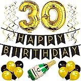 Sterling James Co. 30. Happy Birthday Girlande – Schwarz & Gold Deko Geburtstag, Luftballons, Pom Poms und Spiralgirlande Silber – Party Zubehör