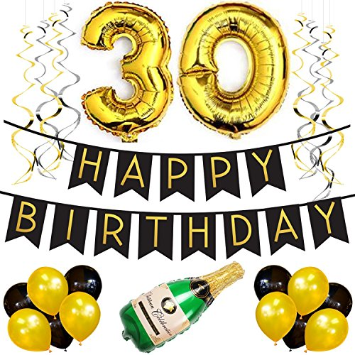 30. Happy Birthday Girlande – Schwarz & Gold Deko Geburtstag, Luftballons, Pom Poms und Spiralgirlande Silber – Party (Hat Elmo Kids)