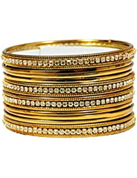 Mansiyaorange Traditional Fancy Designer Casual Orignal Stone Work Party Wedding Wear Antique Golden Bangles Set...