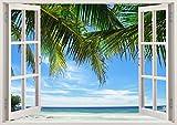 3D-Wandbild Geöffnetes Fenster - großformatig aus hochwertigem Vinyl - wiederverwendbar - Poster Blick aus dem Fenster - Wandtattoo Badezimmer Wohnzimmer - 3D Fototapete Strand und Meer 85 x 115 cm