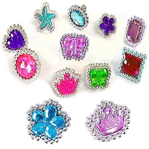 German Trendseller® - 12 x bagues fantaisie en optique pierreries fines ┃ bijoux enfants┃coeurs, fleurs, papillons, étoiles, couronnes┃couleur scintillant