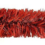 kraftz® 5PCS geschoben rot Lametta 2m (Signalübertragung) X 11cm Deluxe Dick Chunky breit glänzend Glitter Weihnachtsbaum Lametta Girlande für Geburtstag Hochzeit Festival mit Prägung Dekoration