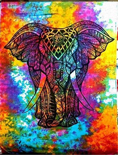 Arazzo, motivo: mandala, stile hippie Elephant