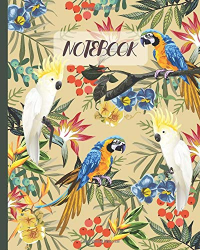 Notebook: Cute Tropical Parrots Macaws & Cockatoos Drawing - Lined Notebook, Diary, Track, Log & Journal - Gift Idea for Boys Girls Teens Men Women (8