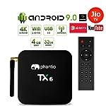 PHANTIO TX6 Android 9.0 Smart TV Box : JIO TV Hotstar WiFi2.4G BT4.0 Quad-Core 3D 4K Ultra HD, H.265 Decoding, USB3.0...