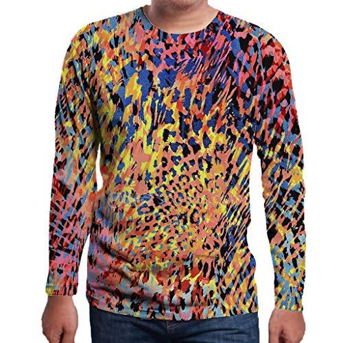 Eaylis Fashion Herren LäSsiges Langarm-Top Mit 3D-Print, Leoparden-Top, Trendiges T-Shirt Und Sport-Langarm-Top