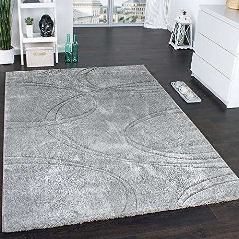 Teppich Einfarbig Designerteppich mit Handgearbeitetem Konturenschnitt Uni Grau, Grösse:160x230 cm