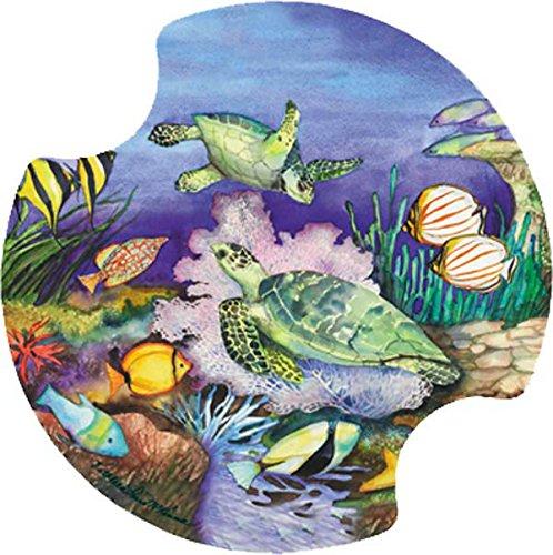 Thirstystone grün Sea Turtles Auto Becherhalter Untersetzer, 2er Pack Carsters Set