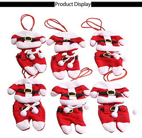 Fjiujin,Sechs Paare Weihnachtsmann dekorative Anzüge, Hosen, Geschirr, Gabel Löffel Halter Taschen(color:ROT,size:KUNSTSTOFFKNOPFMUSTER)