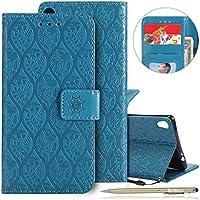 Herbests Handy Schutzhülle Sony Xperia XA Ultra Handyhülle Retro Blumen Muster Bookstyle LederHülle Brieftasche Ledertasche Klappbar Handy Tasche Leder Flip Case Handycover,Blau