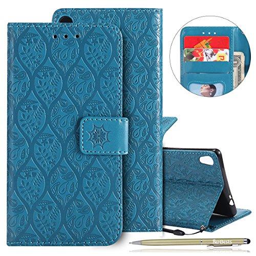 Kompatibel mit Handy Schutzhülle Sony Xperia XA Ultra Handyhülle Retro Blumen Muster Bookstyle LederHülle Brieftasche Ledertasche Klappbar Handy Tasche Leder Flip Case Handycover,Blau