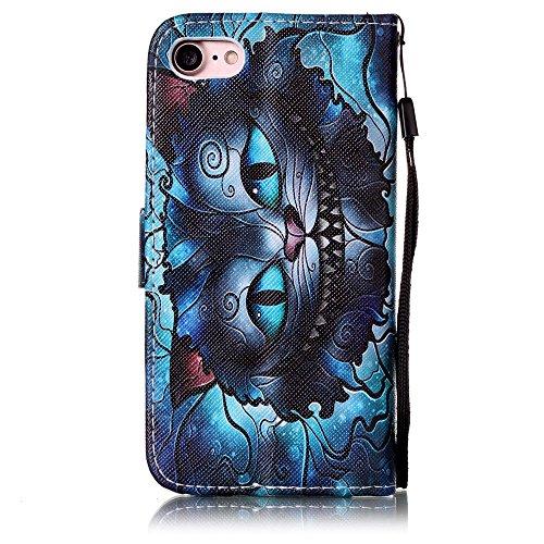 Voguecase Pour Apple iPhone 7 4,7 Coque, Étui en cuir synthétique chic avec fonction support pratique pour Apple iPhone 7 4,7 (Dragonne-CA)de Gratuit stylet l'écran aléatoire universelle Dragonne-yeux bleus 01