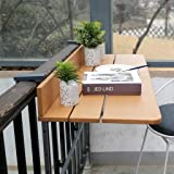 Ailj Tavolo Pieghevole A Parete, Supporto da Parete per Laptop Ringhiera del Balcone del Cortile Regolabile Tavolo Sospeso 60