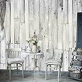 murando - PURO TAPETE - Realistische Tapete ohne Rapport und Versatz - Kein sich wiederholendes Muster - 10m Vlies Tapetenrolle - Wandtapete - modern design - Fototapete - Holz grau Blätter f-A-0388-j-a