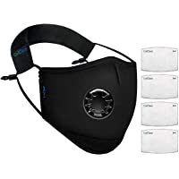 OxiClear N99 Anti Pollution Face Mask with 4 Activated Carbon Filters & Detachable Headband D.R.D.O Certified (Black)