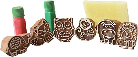 Shumee Kids Wooden forest Friends Stamps, Educational Toy, 100% Safe, Natural & Eco-Friendly
