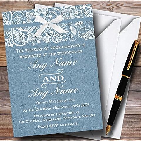 Vintage antico blu iuta e pizzo sera personalizzato ricezione inviti, inviti e buste, 70 Invites & Envelopes