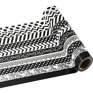 EDGEAM Decorative Washi Tape Set of 10 Adhesive Designs Tape Masking Tape (Design-HB10)