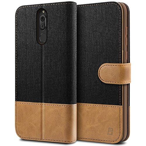 BEZ® Hülle für Huawei Mate 10 Lite Hülle, Handyhülle Kompatibel für Huawei Mate 10 Lite, Handytasche Schutzhülle Tasche [Stoff und PU Leder] mit Kreditkartenhaltern, Schwarz