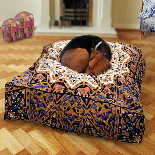 GANESHAM Handwerk-Quadratisch Elefanten Mandala Boden Kissen Indischen Kissenbezug Boden Kissen Sham Ottoman Boden Pouf Übergroße Sofa Hundebett, Katzenbett Kissen Hülle Große Hundebett -