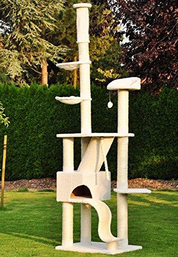 *nanook Katzen-Kratzbaum SIGURD, groß XXL deckenhoch (275 cm), große Höhle, 2 Liegemulden, schwer und standfest, Kratzstämme 11 cm Ø – weiß*