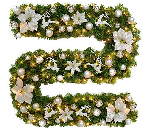 Ghirlande christmas rattan 2.7m crittografia addobbi natalizi ghirlanda dell'albero di natale porta a sospensione argento