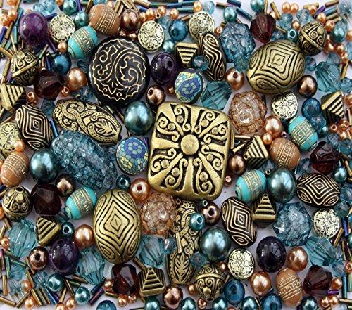 bronze-brown-tibetan-ethnic-jade-jewellery-making-beads-mix-set