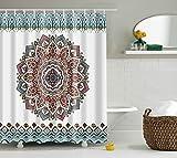 ncshop1212–Mandala Bohemian Wasserdicht Duschvorhang Hippie Boho Dekorationen Geometrische Decor Polyester Badezimmer Set 180,3x 180,3cm