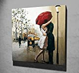 LaModaHome Dekorative Leinwand Art Wand (44,5x 44,5cm) Holz Dick Rahmen Gemälde Regenschirm Rainy Paar Hug Mann Frau Liebe Street Multi Varianten in Store.