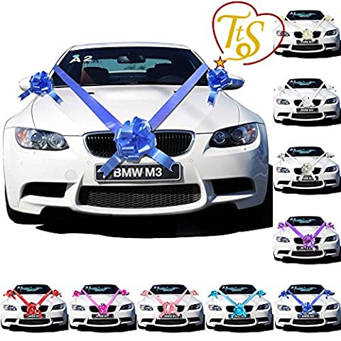 TtS Royal Blue Ribbon Wedding Car Decoration Kit Wrapping Large Bow (3 Bows 7 metres Ribbon )