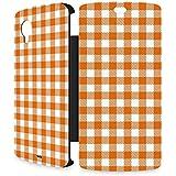Handyschale Handycase für Flip Cover für LG Nexus 5 (schwarz) veredelt mit YOUNiiK Styling Skin - Vichy Karo Orange