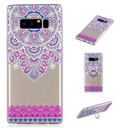 Preisvergleich Produktbild Galaxy Note 8 Case, Anlike Silikon Hülle für Samsung Galaxy Note 8 Handy Hülle Bunte Muster Design {Fingerfunktion Stent-Funktion} Schutzhülle Etui Bumper für Samsung Galaxy Note 8 - Rosen blüten