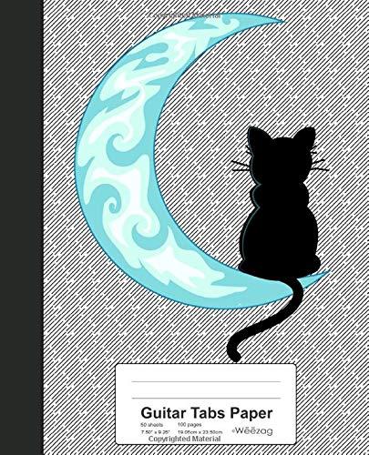 Guitar Tabs Paper: Blue Moon Black Cat Sailor Book (Weezag Guitar Tabs Paper Notebook, Band 106)