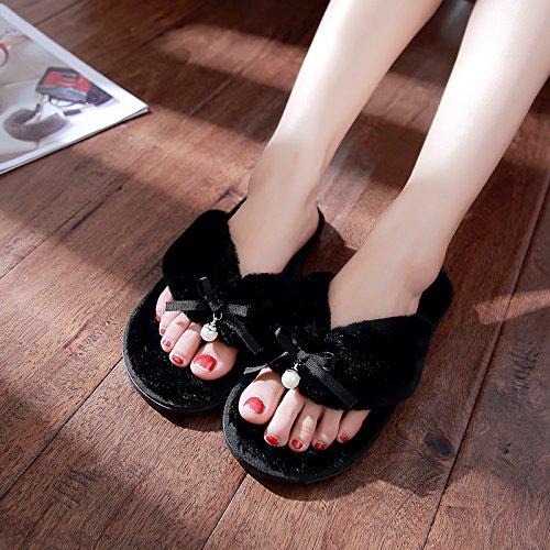 DogHaccd pantofole,Autunno Inverno home pin clip soffici pantofole donne indoor soggiorno anti-slittamento pantofole di cotone invernale coppie maschio di spessore Nero1