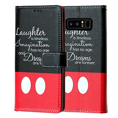 Galaxy Note 8Wallet Fall, durarmor Note 8PU Leder Folio Brieftasche mit ID, Kreditkarte, Cash Slots Flip Ständer Cover Protector Tragetasche, Disney Quote Laughter is Timeless