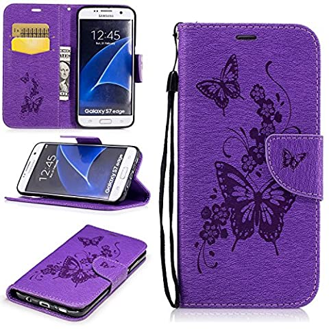 S7 Edge Case,Samsung S7 Edge Case,Galaxy S7 Edge Case,Samsung Galaxy S7 Edge Case,For Samsung Galaxy S7 Edge Cover [Purple Butterfly],Cozy Hut Magnetic Flip Book Style Cover Case For Samsung Galaxy S7 Edge ,High Quality Vintage Genuine Scrub Printed PU Leather Magnetic Flip Protection Case Cover Wallet Pouch With [Lanyard Strap] and [Credit Card Slots] Stand Function Folio Protective Holder Perfect Fit For Samsung Galaxy S7 Edge - Purple