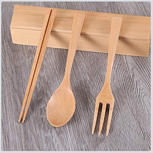 TAOtTAO Tragbares im Freien hölzernes Geschirr der Reise Japanese Style Healthy Tableware Chopsticks Spoon Box Wooden Portable A Three-Piece Set of for Outdoor Travel Four-Piece (B, Kombination)